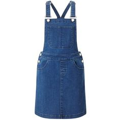 Miss Selfridge Blue Denim Pinafore ($42) ❤ liked on Polyvore featuring dresses, overalls, skirts, mid wash denim, pinny dress, denim mini dress, blue mini dress, denim dress and blue day dress