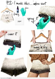 10 really great ideas for DIY shorts. I love these ombré ones!