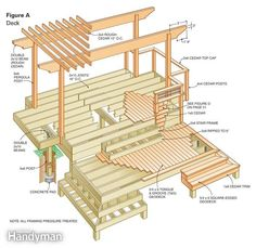 This small deck is packed with features: composite decking, cantilevered seating nooks, a cedar pergola, custom railing, cascading stairs—all illustrated with solid, easy-to-understand construction details.