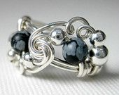 Snowflake Obsidian Ring Sterling Silver Wire Wrapped Mardi Gras