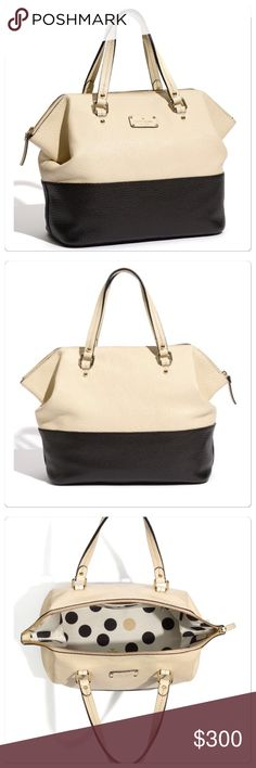 """New, Kate Spade, Grove Court Blaine Leather Bag! New, Kate Spade Grove Court Blaine Satchel is made of elegant pebble embossed cowhide leather. The buttermilk and black is a great combination for all seasons. Pebble embossed cowhide with matching trim. 14-karat light gold plated hardware; Kate Spade signature leather plate. Top zip closure; Interior zip pocket and double slip pockets. Double Strap drop length: 7'' handheld. 11''h x 18''w x 6.8""""d- Comes with dust bag and care card. Brand new…"""