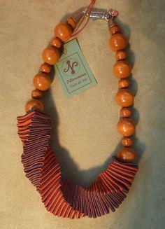 Ribbon Jewelry, Scarf Jewelry, Paper Jewelry, Textile Jewelry, Fabric Jewelry, Paper Beads, Beaded Jewelry, Beaded Necklace, Love Necklace