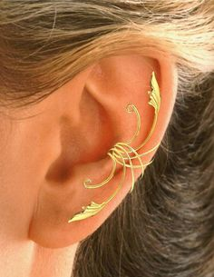 Delicate Leaf Ear Cuff Ear Wrap in Sterling or Gold by EarCharms, $15.00 - Picmia