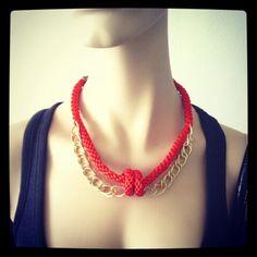 Collar Luvjan de seda con doble cadena www.facebook.com/bycosmicgirl