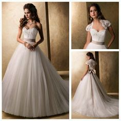 Free ShippingShort Sleeve jacket Beautiful Tulle 2013 Designer Bridal Wedding Dresses Beaded Ball Gown US $191.99