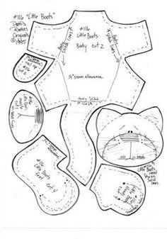 Arte Índia: Patti´s Ratties Little Boots Gato Felt Patterns, Fabric Patterns, Sewing Patterns, Doll Crafts, Sewing Crafts, Sewing Projects, Fabric Doll Pattern, Fabric Dolls, Felt Cat