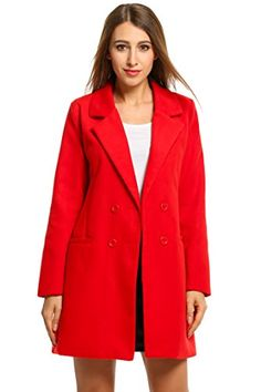 HOTOUCH Women Overcoat Jacket Double Breasted Wool Blended Pea Coat Red L. Shell: 60% Wool, 30% Polyester; Lining: 100% Polyester. Double Breasted Pea Coat, Notched Lapel, Above Knee Length, Two Front Pockets for Convenience, Slim fit Wool Blend Coat. Medium Weight Wool Blend Fabric Long Jacket Outwear Yet Warm for Chilly Weather, Make You Fashionable and Comfortable. Machine Wash Cold with Similar Colors / Do Not Bleach / Tumble Dry Low / Warm Iron. Warm and Casual Overcoat, Fashion…