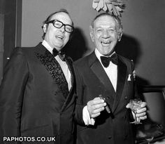 Two of the best comedy legends ever, Sid James was a straight actor in the begining after being a hairdresser from south africa where he was born but after he joined the carry on team in the late 50s did mostly comedies after that,he died in 1976 live on stage and Eric Morecambe died in 1984 live on stage a couple of weeks after one of his best friends died live on t.v. Tommy Cooper.