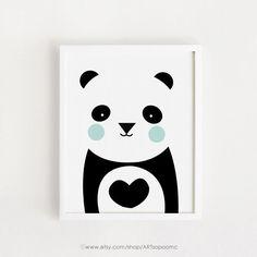 INSTANT DOWNLOAD hart Panda Poster Bebe Cute afdrukbare kunst