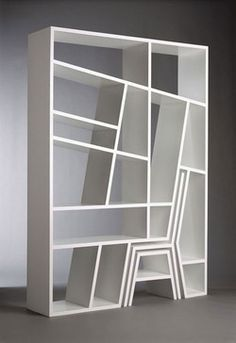 Clever design for book shelf, chair and stool to reach the top shelves [or put your feet up]. Bookshelf Porn