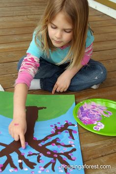 Spring Art for Kids ~ Fingerprint Cherry Tree