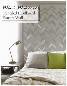 Don't have the budget for an expensive headboard? Here's a cheaper and more custom option - Paint a stenciled DIY headboard with Royal Design Studio stencils