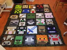 2nd Minecraft quilt is done. Please visit my page for more quilt ... : minecraft quilt - Adamdwight.com