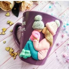 Custom Mother and Kid MugMug for Mother Gift for Son Mom Polymer Clay Figures, Cute Polymer Clay, Polymer Clay Dolls, Polymer Clay Charms, Clay Art Projects, Clay Crafts, Diy And Crafts, Clay Cup, Clay Design