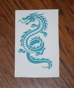 Dragon Decal, Dragon Sticker, Dragon Car Decal, Dragon Laptop Decal, Serpent Dragon Decal, Vinyl Decal, Car Sticker, Laptop Sticker by PawsitivelyCrafty on Etsy
