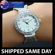 CUSSI Womens Silver Bling Bracelet Band Crystal Ladies Fashion Dress Watch Strap