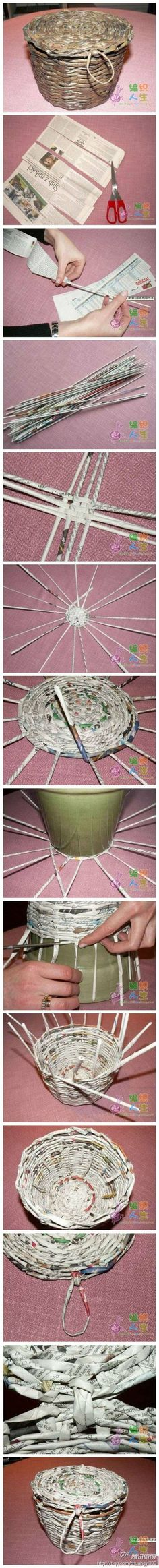 Wastepaper baskets woven with newspapers