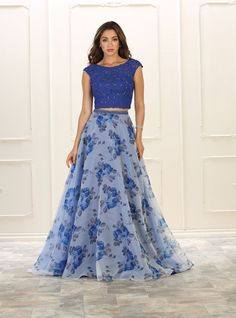 Long Formal Two Piece Set Prom Dress - The Dress Outlet Royal Blue May Queen Indian Fashion Dresses, Indian Gowns Dresses, Indian Designer Outfits, Skirt Fashion, Designer Dresses, Long Gown Dress, Ball Gown Dresses, Party Wear Dresses, Prom Dresses