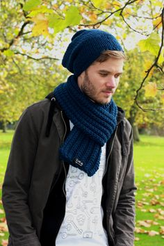 French Navy Men's Scarf,  Wool Scarf, Men's Knit Scarf, Womens Scarf, Mens Wool Scarf, Men Scarf, Spring Fashion Accessories