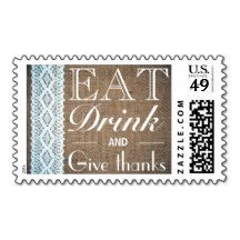 Eat Drink And Give Thanks Burlap Lace Postage