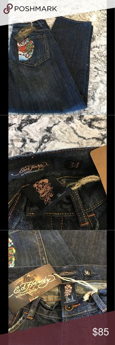 Ed Hardy Mens jeans NWT Mens jeans ED Hardy  waist 34 rise 13.5 and inseam 33 Ed Hardy Jeans Relaxed