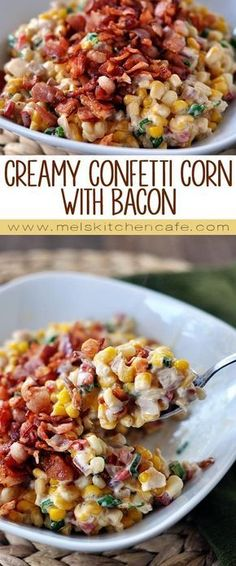 flavorful Creamy Confetti Corn With Bacon takes a regular corn side dish to a rockin' new level.This flavorful Creamy Confetti Corn With Bacon takes a regular corn side dish to a rockin' new level. Veggie Dishes, Food Dishes, Bacon Dishes, Cooking Dishes, Veggie Food, Cooking Utensils, Side Dish Recipes, Vegetable Recipes, Dishes Recipes