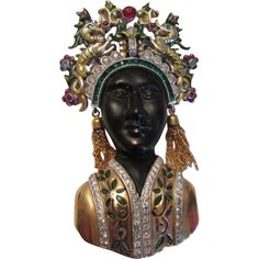 RARE 1940's DuJay Princess Fur Clip Brooch Pin Blackamoor Princess Rhinestone Enamel Figural Headdress