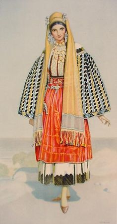 NICOLAS SPERLING Peasant Woman's Dress (Dodecanese, Nisyros) 1930 lithograph on paper after original watercolour Greek Traditional Dress, Traditional Fashion, Traditional Outfits, Costume Shop, Folk Costume, Greek Dancing, Greek Dress, Greek Royalty, Thasos