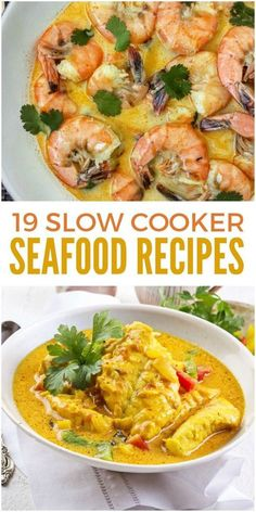 These slow cooker seafood recipes include many of your favorites, from a low country boil to shrimp and grits to clam chowder. The crock pot is so convenient! via @leviandrachel #slowcookingrecipes #seafoodrecipes