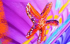 Starfish abstract painting Miami based artist Laelanie Larach, original oil painting for sale in Miami, modern abstract art. Latin american fine art.