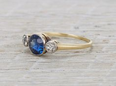 Vintage sapphire and diamond engagement ring. Erstwhile Jewelry Co.