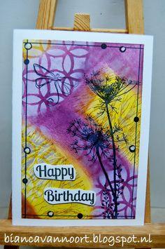 By Bianca van Noort - DT Magenta: Happy birthday / Carte d'anniversaire