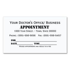doctor appointment cards templates