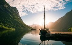 Download wallpapers Norway, fjord, yacht, dock, sunset