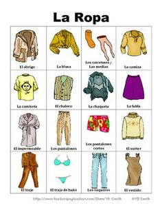 FREE Spanish clothing vocabulary in picture form.  Really great to help your visual learners really learn the language!
