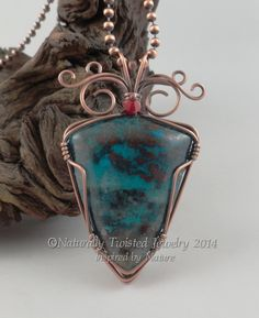 Wire Wrapped Chrysocolla Pendant Necklace in by MaryOlczyk on Etsy