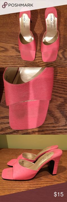 "New Chinese Laundry silk mules Bubblegum pink shantung silk Chinese Laundry mules. There is a little ""try on"" stain on toes but this is faint and barely noticeable. Doesn't show when shoes are on Chinese Laundry Shoes Mules & Clogs"