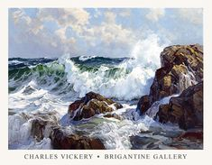 The Brigantine Gallery - Charles Vickery - Fine Art Posters Watercolor Landscape, Landscape Art, Landscape Paintings, Ocean Art, Ocean Waves, Sea Pictures, Fine Art Posters, Ocean Scenes, Boat Painting
