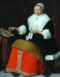 Jan Albertsz Rotius - Portrait of a lady in a fur trimmed dress, holding a pair of white gloves (Bowes Museum) 17th Century Clothing, 17th Century Fashion, European Paintings, Vintage Paintings, English Drama, 18th Century Costume, Baroque Art, Art Uk, White Gloves
