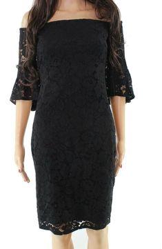 0b24c7fe741ce Laundry By Shelli Segal NEW Black Womens Size 4 Sheath Lace Dress $304 668  #fashion