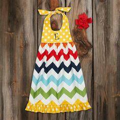 Chevron Dress with Yellow Polk-A-Dots