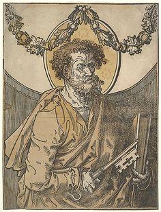 Lucas van Leyden (1494–1533).   Saint Peter, 1515.   Woodcut, hand-colored