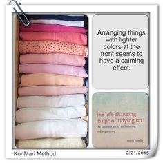 KonMari Method - arranging by colon Home Organisation, Closet Organization, Clothing Organization, Organizar Closets, Flylady, Marie Kondo, Tidy Up, Mindful Living, Organizing Your Home