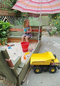 Love this sandbox!! DIY Backyard Sandpit   simplykierste.com