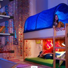 Ikea low bunk bed, reversible bunk bed, shared room , reading nook , christmas lights