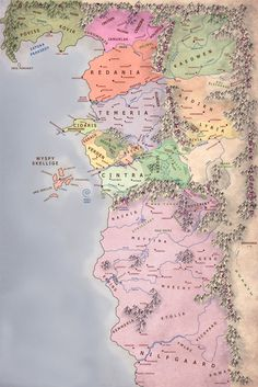 This map helped me a lot while reading the Wicher books ( Thanks ) : witcher The Witcher Book Series, The Witcher Books, The Witcher 1, Fantasy World Map, Imaginary Maps, Dungeon Master's Guide, Medieval, Dream Fantasy, Book Writing Tips