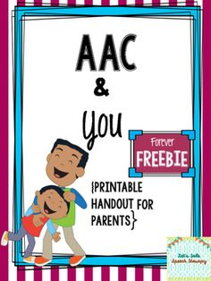 Having a child who uses any form of alternative augmentative communication (AAC) user can be overwhelming for a parent, but it doesn't have to be! This download contains a sample no-prep handout that covers the following areas:-Basic AAC introduction--what AAC is and is not (dispelling myths and why AAC is important and successful)The handout is 2 pages and can be printed front and back for paper saving!If you'd like to download the full packet, click here:AAC and You--handouts for Parents…