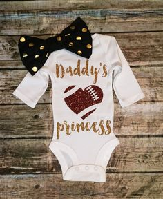 "Baby Girl Daddy""s Princess  Onesie, Football Bodysuit, Princess Shirt, Football Girls Shirt"