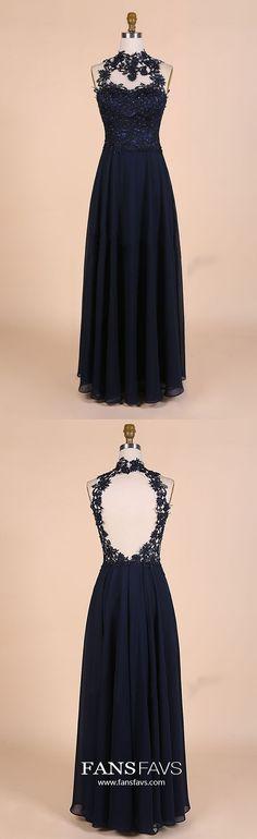 Dark Navy Prom Dresses Long,High Neck Chiffon Prom Dresses Open Back,Lace Prom Dresses with Beading,A-line Prom Dresses Modest
