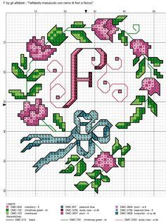 alfabeto maiuscolo con ramo di fiori e fiocco F